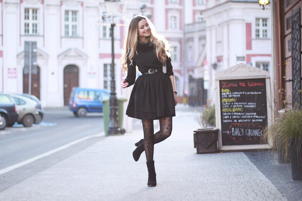 Belette black dress and tights with stars \u2022 Juliette in